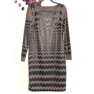 Eroke Brown & Black Chevron Bodycon Dress